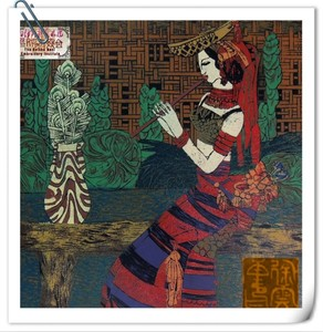 油印木刻版画 《傣家曲》傣族the sound from  heaven < Woodblock Painting>